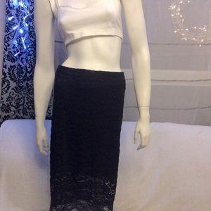 GUESS lined black macrame scalloped hem midi skirt